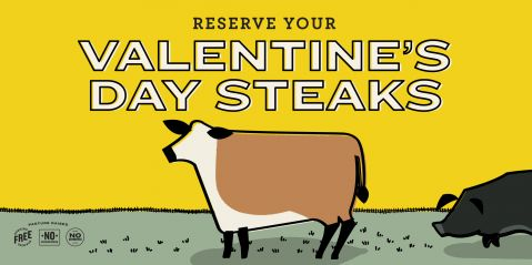Valentines day steaks banner